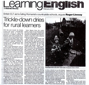 Guardian article on English teaching in Romanian schools
