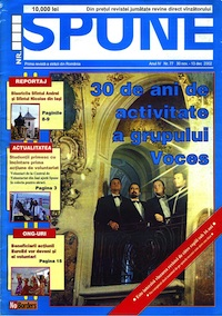 Front cover of Romanian street paper featuring the string quartet Voces