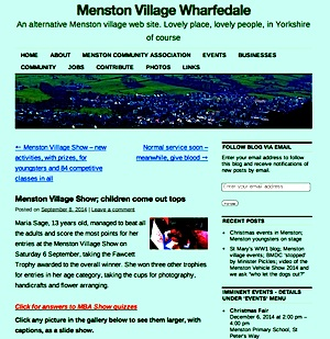 Screenshot of Menston Village website and blog home page